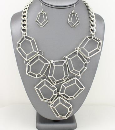Statement Geometric Metal Bib Necklace Necklace Sets Color: Silver