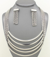 Long Layered Metal Bar Necklace Set Necklace Set Color:Silver