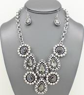 Gemstone Bib Necklace Set Necklace Sets Color: Grey 17 inches