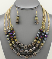 Multi-Row Glass Beaded Necklace Set