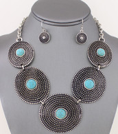 TURQUOISE BUCKLE NECKLACE SET  COLOR:TURQUOISE  SIZE : 17 INCH + 3