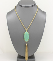 Mint - Pendant Tassel Necklace Set