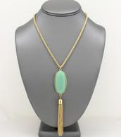Mint - Pendant Tassel Necklace Set