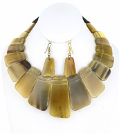 Natural Stone Bib Necklace Set