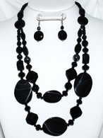 Long Black Stone & Bead Necklace Set  Double layered look in front.   Size: 27 inches