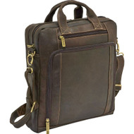 Distressed Leather Vertical Laptop Brief