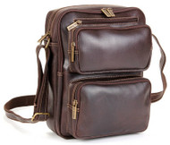 Distressed Leather Multi Pocket Ipad/E-Reader Mens Bag