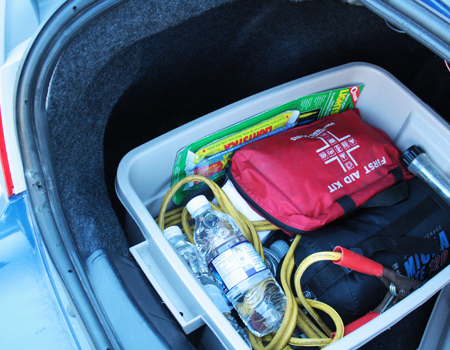 An emergency kit is key to establishing winter driving safety.