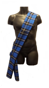6ft Scottish Hunting Blue Tartan Sash Burns Night Fancy Dress