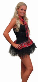 "12"" Red Tartan Cyber Tutu Skirt & Neck Tie with Black Trim"