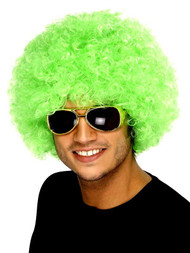 Adults Green Irish St Patricks Curly Afro Hair Wig Paddys Clown Accessory