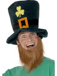 Irish Leprechaun Hat with Ginger Beard St Patricks Day Ireland Fancy Dress