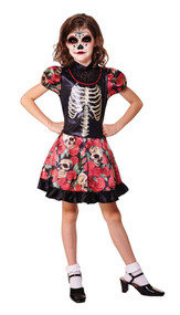 Childrens Day of the Dead Kids Halloween Fancy Dress Childs Costume