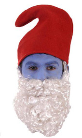 1980s Papa Gnome Red Hat White Beard Fancy Dress Christmas Accessory