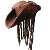 Jack Sparrow Style Pirate Hat with Dreads Pirates of the Caribbean Fancy Dress Headwear