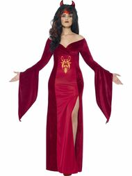 Ladies Red Curves Devil Fancy Dress Costume With Dress & Horns 06102015