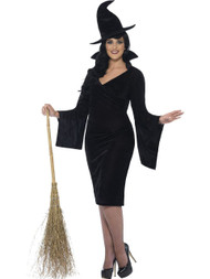 Ladies Black Curves Witch Fancy Dress Costume With Dress &  Hat 06102015