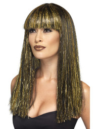 Ladies Egyptian Goddess Cleopatra Wig Black Synthetic Hair with Gold Tinsel