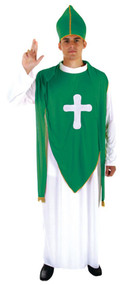 Adults St Patrick's Day Green & White Irish Priest Ireland Fancy Dress Costume