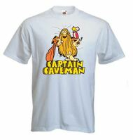 Mens Old School Retro White T-shirt Captain Caveman Cartoon Print