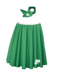 "St Patricks Day Ladies 22"" Emerald Rock & Roll Skirt Set With Lucky Clover Print"