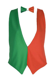 Irish Flag Waistcoat & Bow Tie St Patricks Day Ireland Fancy Dress Set