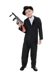 Childrens Black Pinstripe 1920's Gangster Mob Suit Fancy Dress Costume