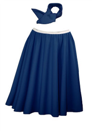 "Ladies 22"" Navy Blue Full Cirlcle Rock & Roll Skirt With Necktie 1960s Fancy Dress"