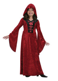 Childrens Red Hooded Gothic Vampiress Halloween Fancy Dress Costume
