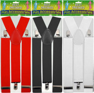 Black White Unisex Braces Adjustable Suspenders Gangster Fancy Dress Uk