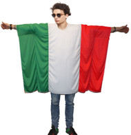 Unisex Italian Flag Poncho OneSize Italy Fancy Dress Supporter Costumes