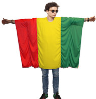 Unisex Rasta Flag Poncho OneSize Rastafarian Fancy Dress Legalize Weed Costume