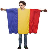 Unisex Romania Flag Poncho OneSize Romanian Fancy Dress Supporter Costumes