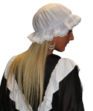 Adults Victorian Milk Maid Mop Hat White Lace Trimmed The Help Headwear
