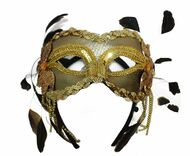 Ladies Gold Feather Masquerade Eyemask Angelic Fancy Dress Accessory