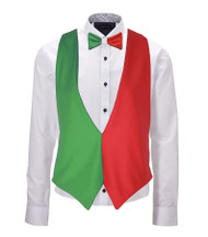 Italian Flag Backless Waistcoat & Bow Tie Set Italy 6 Nations Rugby Accessory