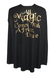 "Once Upon a Time Cape 35"" Black All Magic Comes With a Price Mr Gold"