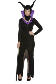 Ladies Evil Queen Sorcerer Forest Fairytale Fancy Dress Costume