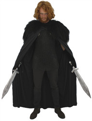"60"" John Snow Knights Cape with ' BlackWatch ' Faux Fur Collar Thrones Fancy Dress"