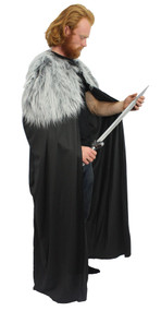 "60"" John Snow Knights Watch Cape with Dyrewolf Faux Fur Collar Thrones Fancy Dress"