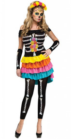 Ladies M/L Dia De Los Muertos Day of the Dead Fancy Dress Costume