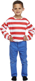 Childrens Red & White Wally Style Striped Fancy Dress Jumper
