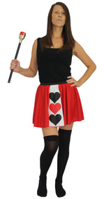 Ladies Queen of Hearts Panel Skater Skirt Wonderland Fancy Dress