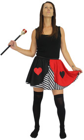 Ladies Queen of Hearts White Striped Skater Skirt Wonderland Fancy Dress