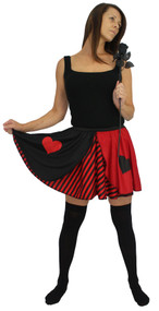 Ladies Queen of Hearts Red Striped Skater Skirt Wonderland Fancy Dress