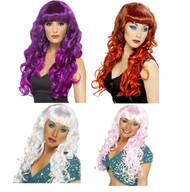 Ladies Coloured Curly Siren Mermaid Halloween Fancy Dress Wigs