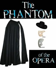 Halloween Phantom Of The Opera Cloak Mask & Hat Fancy Dress FULL SET
