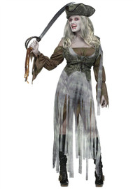 Ladies Zombie Pirate Fancy Dress Womens Scary Halloween Costume