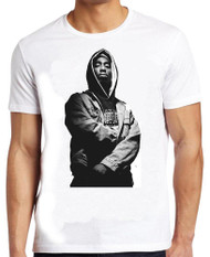 Mens White Tupac Shakur Rapper Idol Gangster 2Pac Fan T Shirt