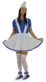 Ladies White & Blue Garden Gnome Fancy Dress Complete Smurf Costume